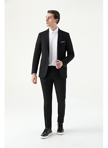 TWN Slim Fit Armürlü Takım Elbise Siyah